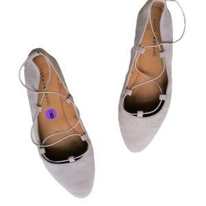 Lucky Brand Gray Aviee Criss Cross Ballet Flats